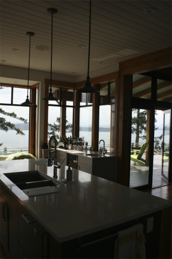 Kitchen Island West Coast Luxury Home on Pender Island built by Dave Dandeneau of Gulf Islands Artisan Homes