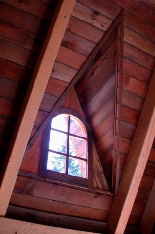 Interior Dormer Windows of potting shed on Pender Island built by Dave Dandeneau of Gulf Islands Artisan Homes