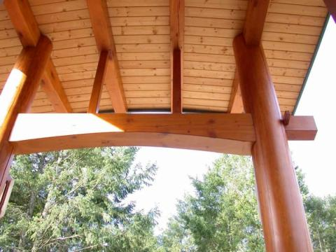 Exterior Roof Wood Work of West Coast Home on Pender Island built by Dave Dandeneau of Gulf Islands Artisan Homes