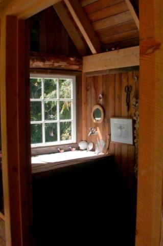 work bench of potting shed on Pender Island built by Dave Dandeneau of Gulf Islands Artisan Homes
