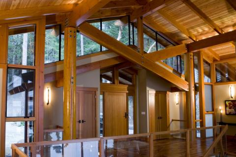 West Coast Home interior front door on Pender Island built by Dave Dandeneau of Gulf Islands Artisan Homes