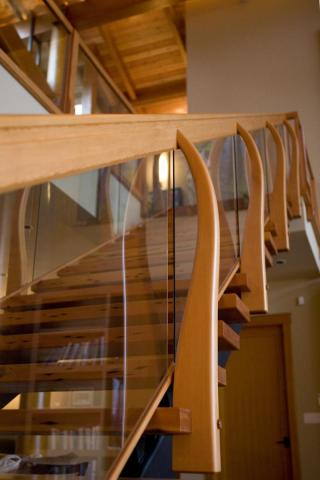 Wooden Stair Case Irene Bay Road by Dave Dandeneau of Gulf Islands Artisan Homes
