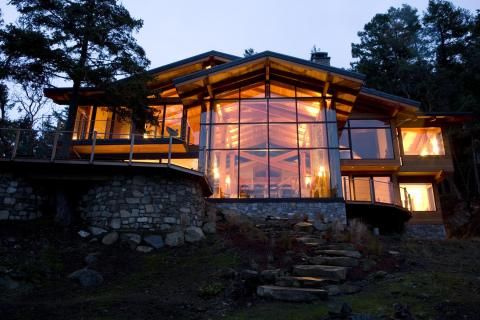 Outside at Night West Coast Luxury Home on Pender Island built by Dave Dandeneau of Gulf Islands Artisan Homes