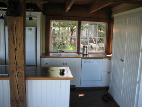 Kitchen of West Coast Home on Pender Island built by Dave Dandeneau of Gulf Islands Artisan Homes