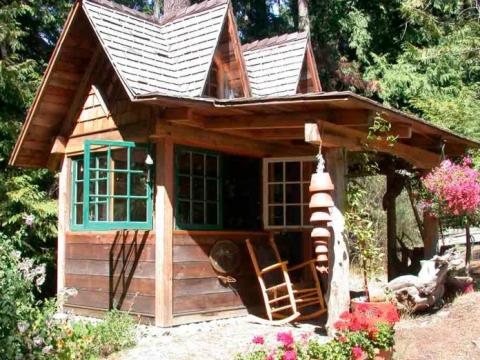 Exterior of potting shed on Pender Island built by Dave Dandeneau of Gulf Islands Artisan Homes