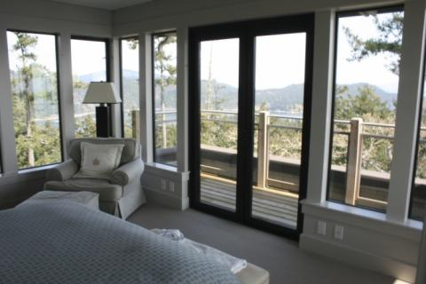 Master Bedroom West Coast Luxury Home on Pender Island built by Dave Dandeneau of Gulf Islands Artisan Homes