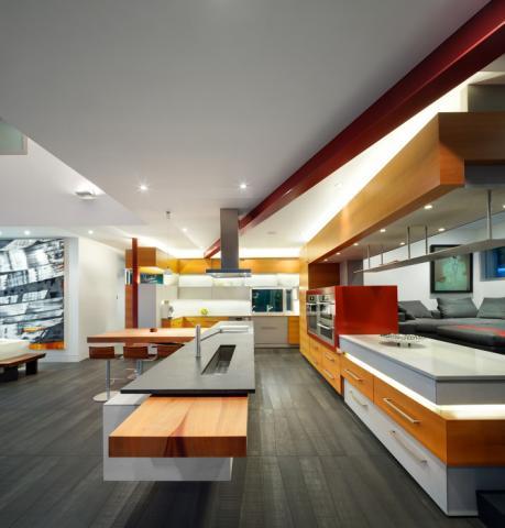 ultra modern kitchen in Pender Island Home by Dave Dandeneau of Gulf Islands Artisan Homes