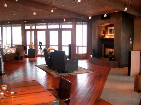 West Coast Home interior living area open plan on Pender Island built by Dave Dandeneau of Gulf Islands Artisan Homes