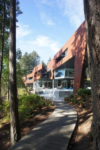 Modern Steel West Coast fusion building pathway to pool on Pender Island built by Dave Dandeneau of Gulf Islands Artisan Homes