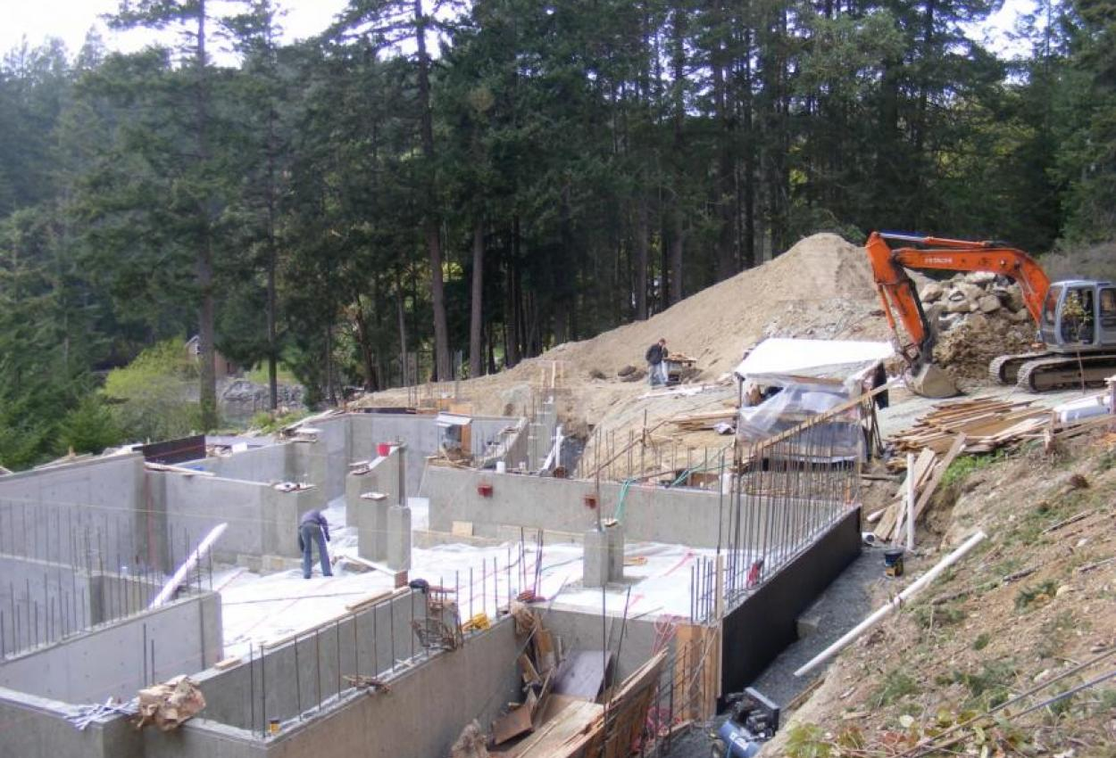 Foundation for West Coast Home on Pender Island built by Dave Dandeneau