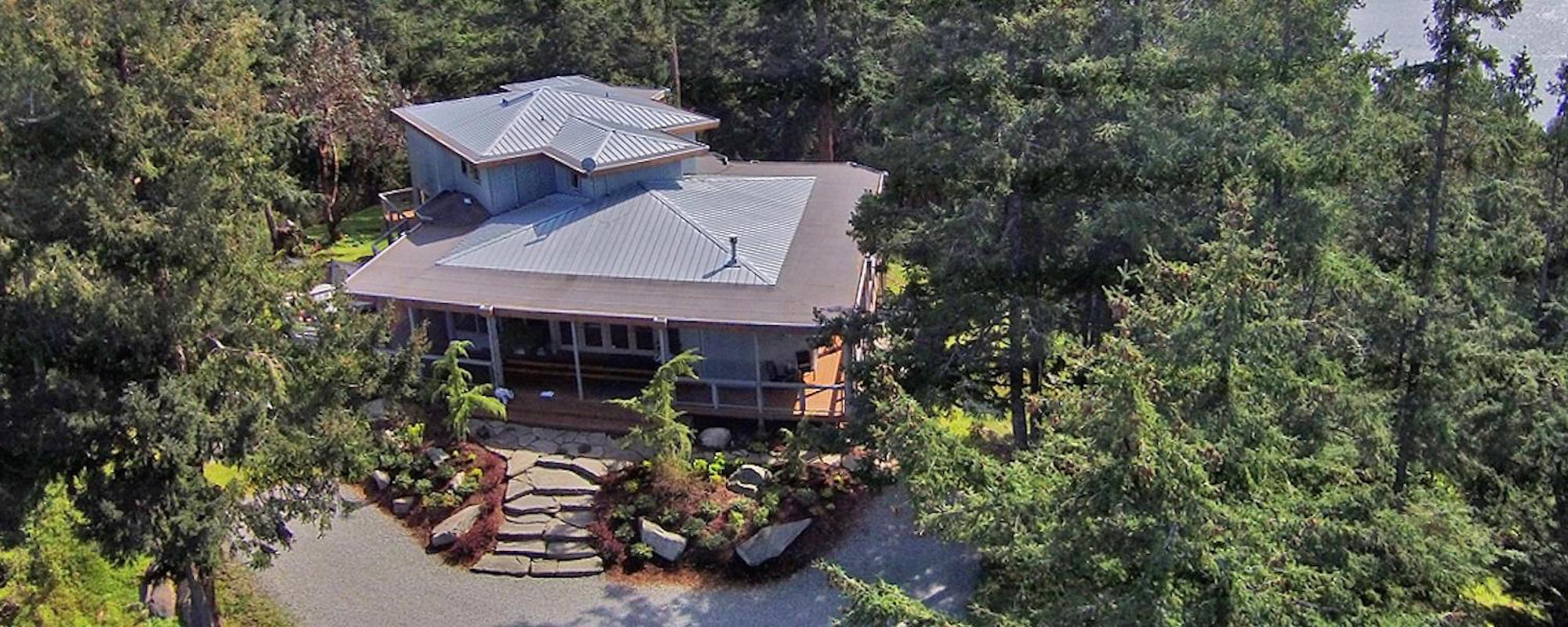 Aerial shot of McKinnon Road project - courtesy of Dockside Realty, Pender Island